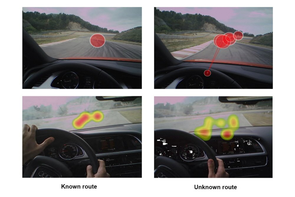 Gaze plots and heat maps illustrating attention pattern while driving a car.