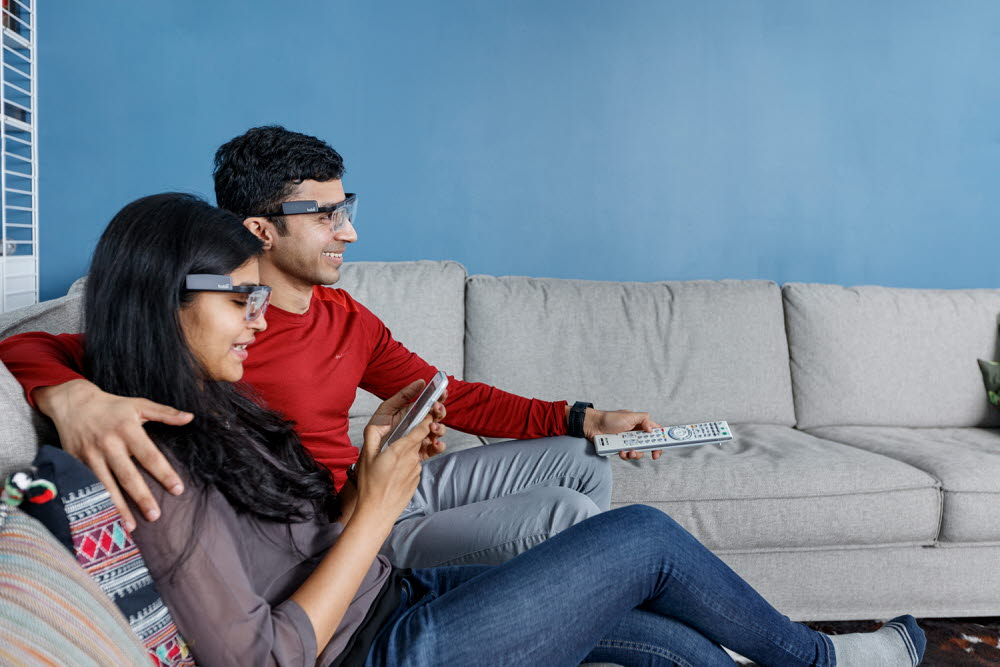 People watching TV and a mobile phone using Glasses 2 eye tracking