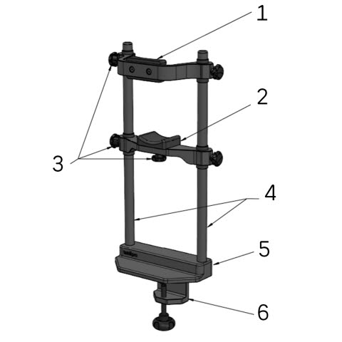 Tobii Pro Chin Rest part diagram - numbered