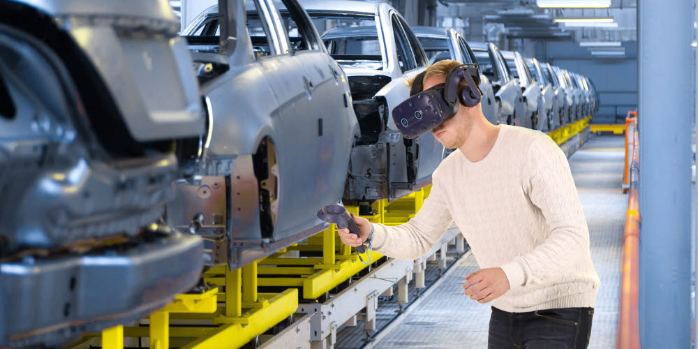 Tobii Pro VR Analytics with HTC Vive Pro Eye used to train visual inspectors at a car manufacturing factory
