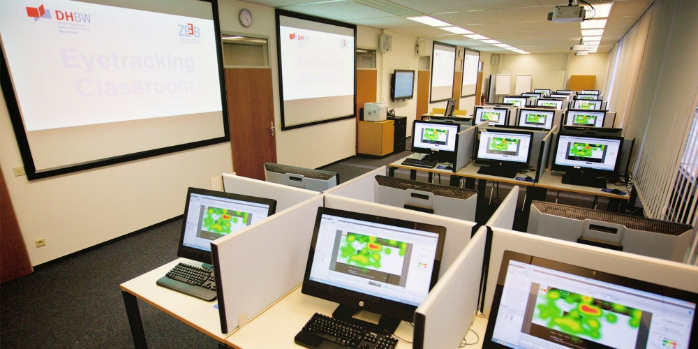 A classroom equipped with Tobii Pro eye trackers.